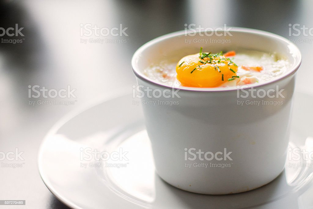 Baked egg stock photo