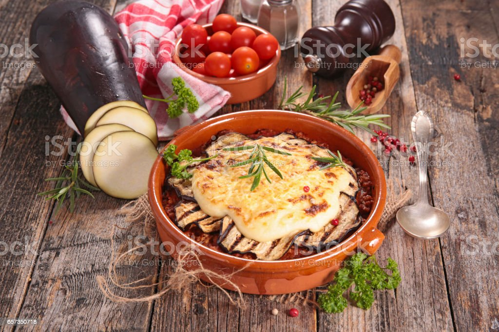 baked eggplant with tomato and cream stock photo