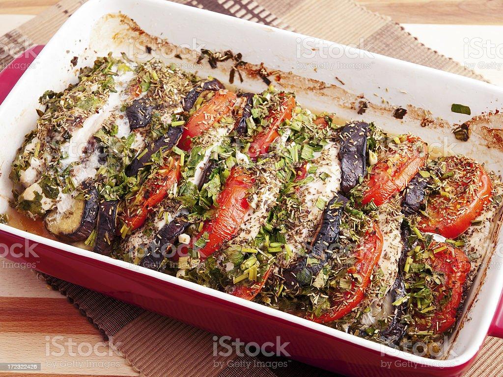 Baked eggplants with tomatos royalty-free stock photo