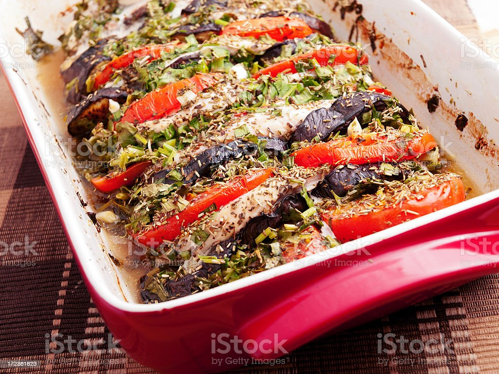 Baked eggplants with tomatos royalty-free stock photo