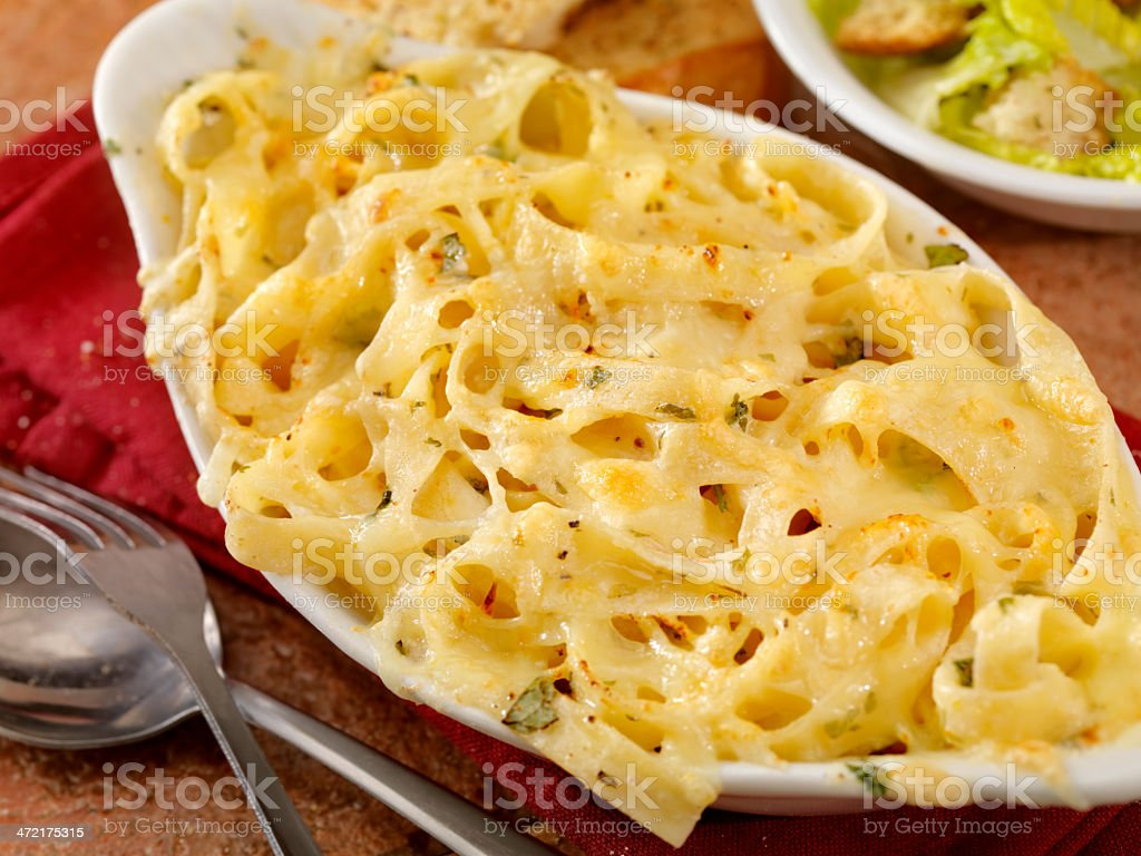 Baked Fettucini in Alfredo Sauce stock photo