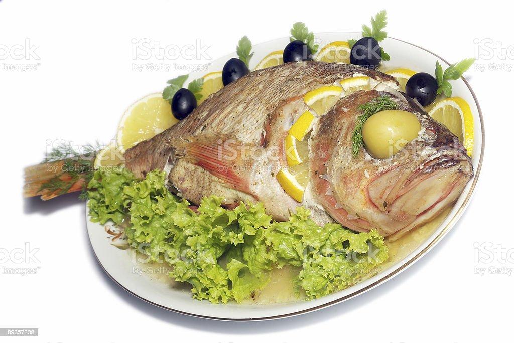 baked fish isolated royalty-free stock photo