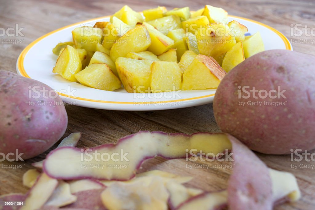 baked flavored potatoes royalty-free stock photo