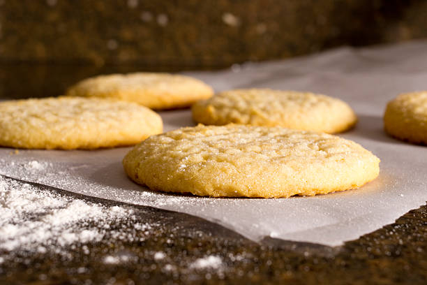 Baked fresh Sugar cookies cooling on the countertop sugar cookie stock pictures, royalty-free photos & images