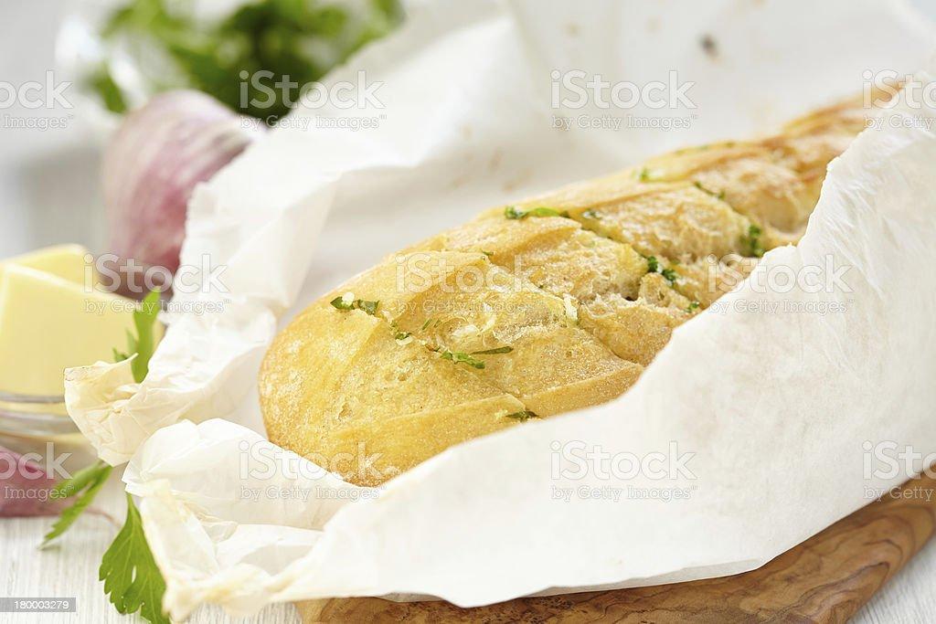 구운 마늘 식빵, 허브 royalty-free 스톡 사진