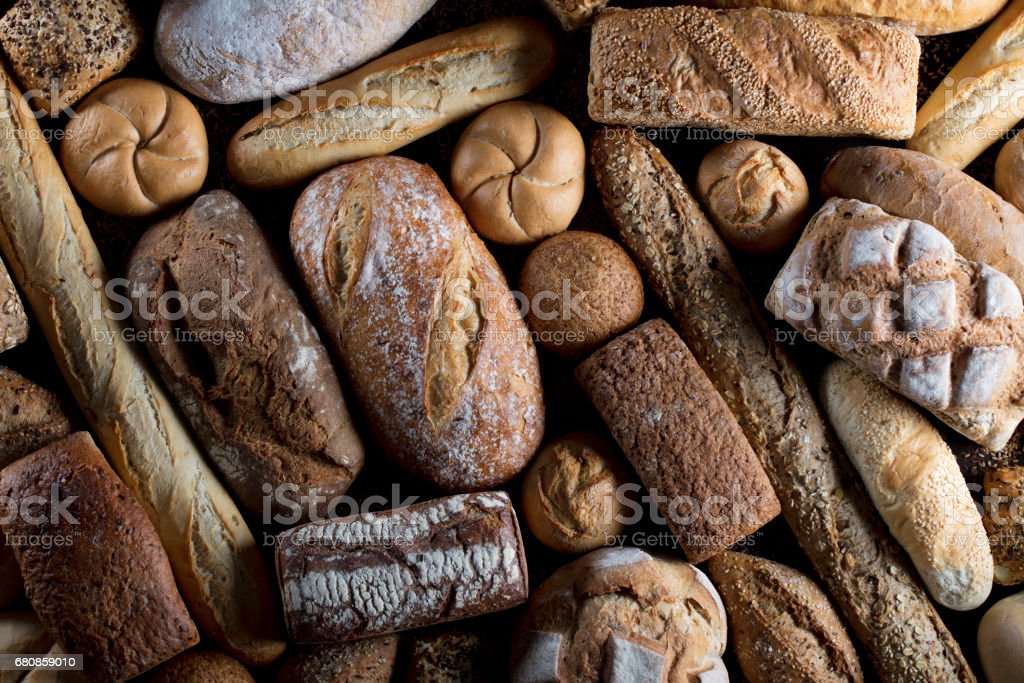 Baked goods. Mixed bread top view studio shots stock photo
