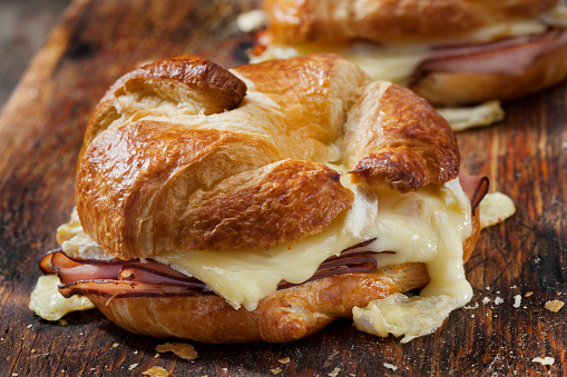 Baked Ham and Brie Croissant Sandwiches with Dijon Mustard