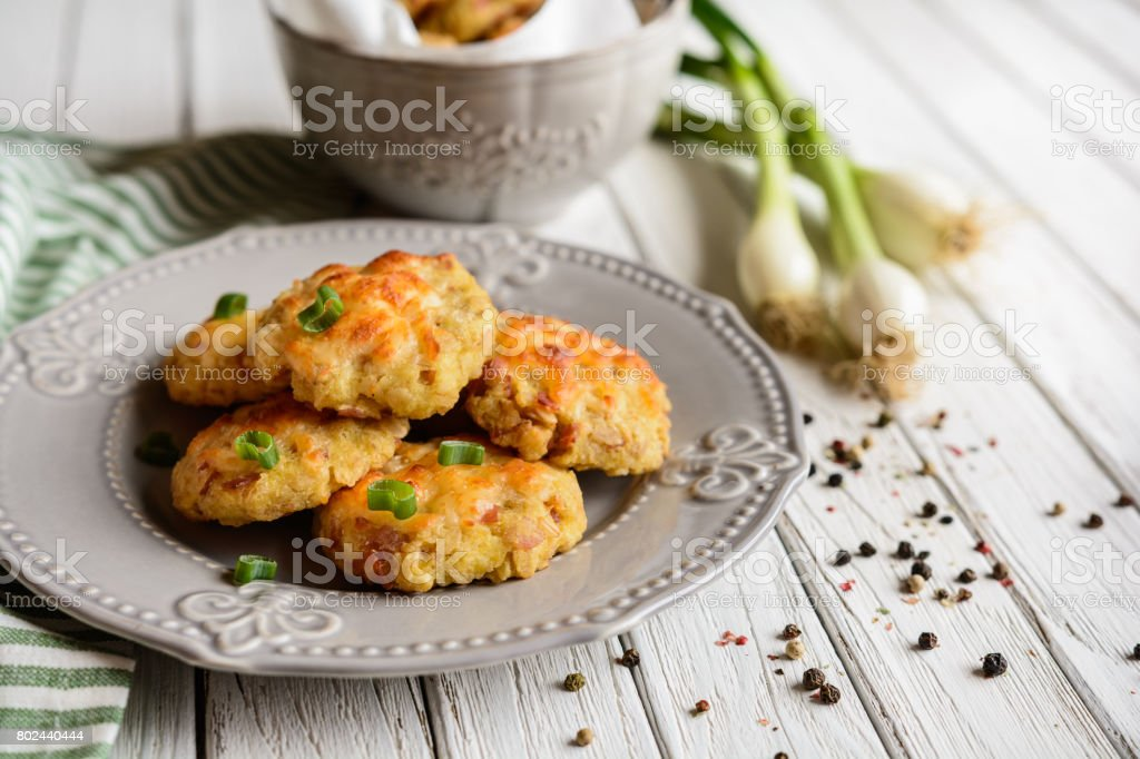 Baked ham pies with cheese stock photo