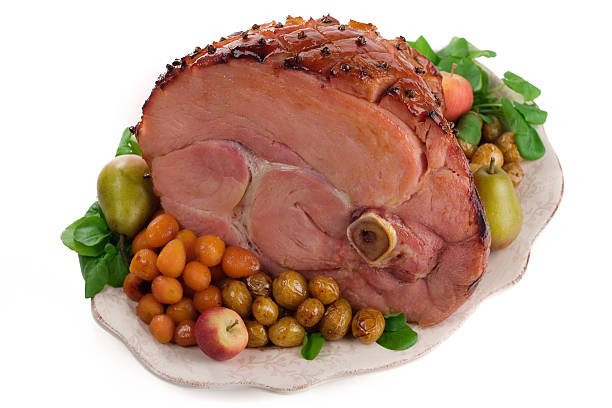 Baked Ham with Trimmings stock photo