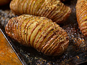 Baked Hasselback Potatoes with Parmesan Cheese