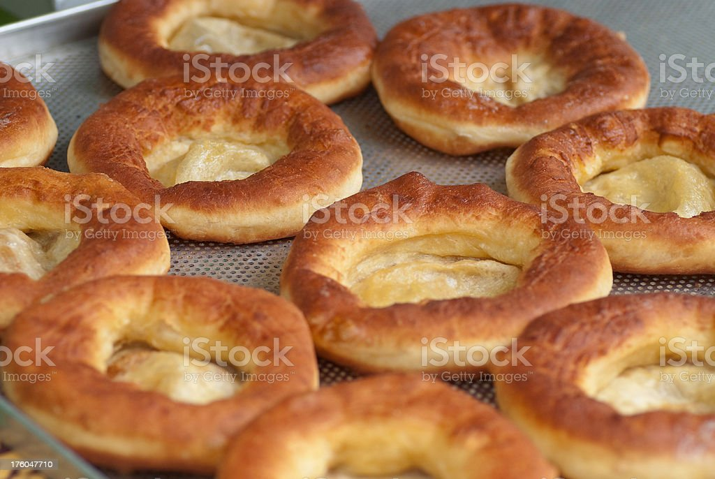 baked in fat - Knieküchle Langos royalty-free stock photo