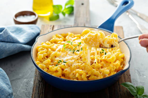 Baked mac and cheese stock photo