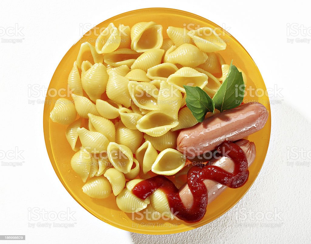 Baked macaroni shells & sausages royalty-free stock photo