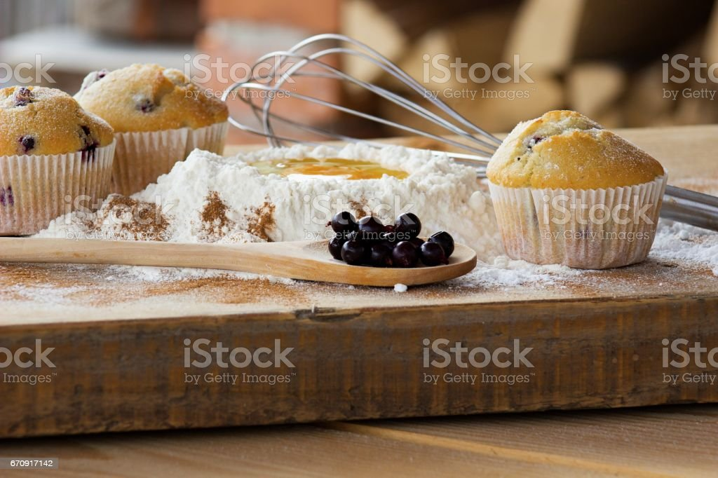 baked muffins stock photo