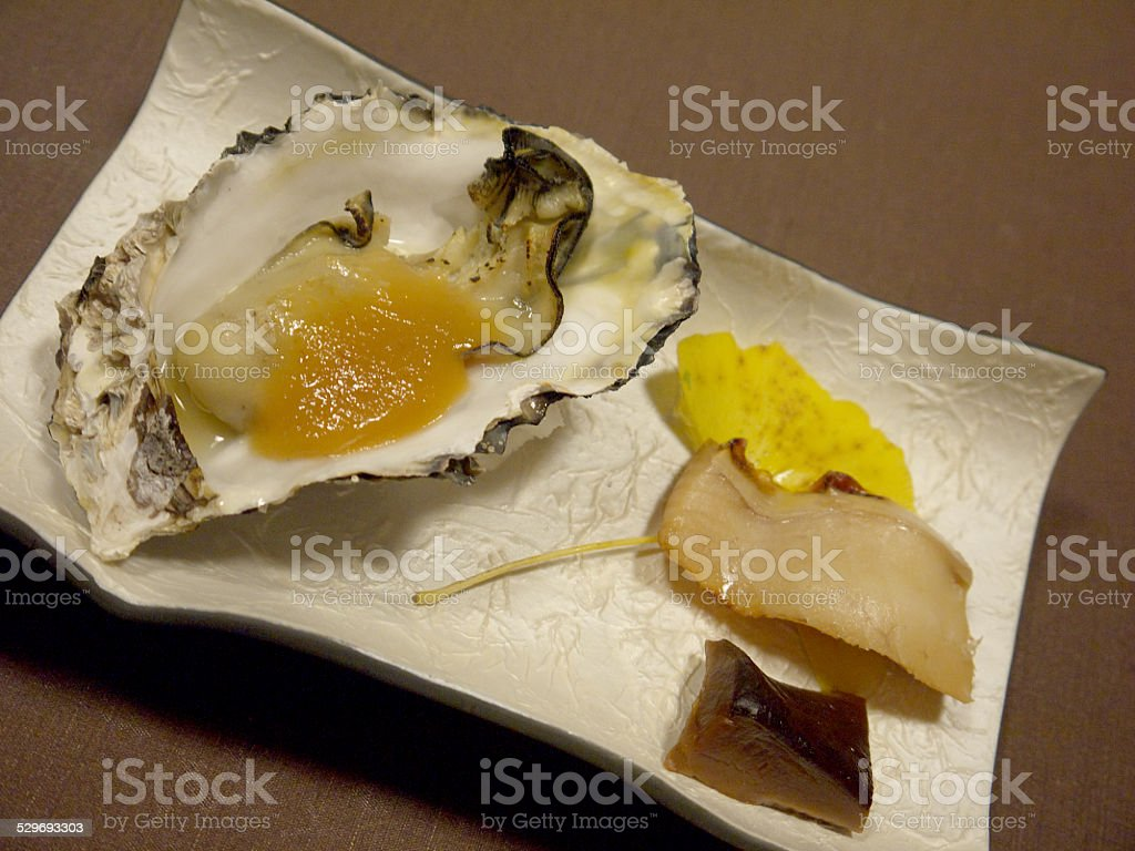 Baked oyster stock photo