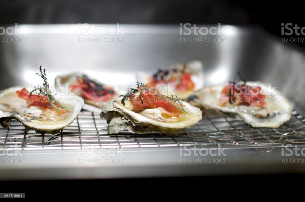 baked oyster,prosciutto royalty-free stock photo