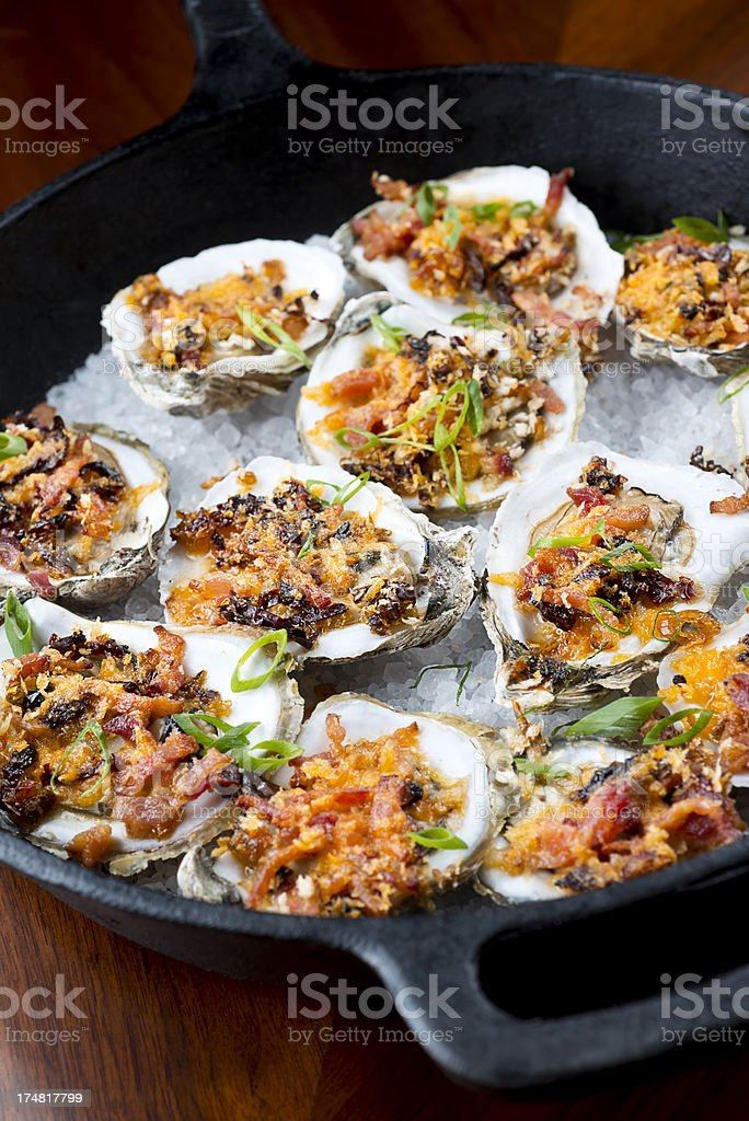 Baked Oysters stock photo