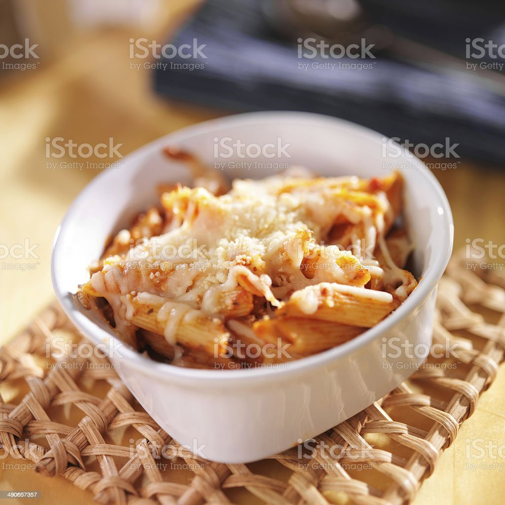 baked penne and mozzarella cheese royalty-free stock photo