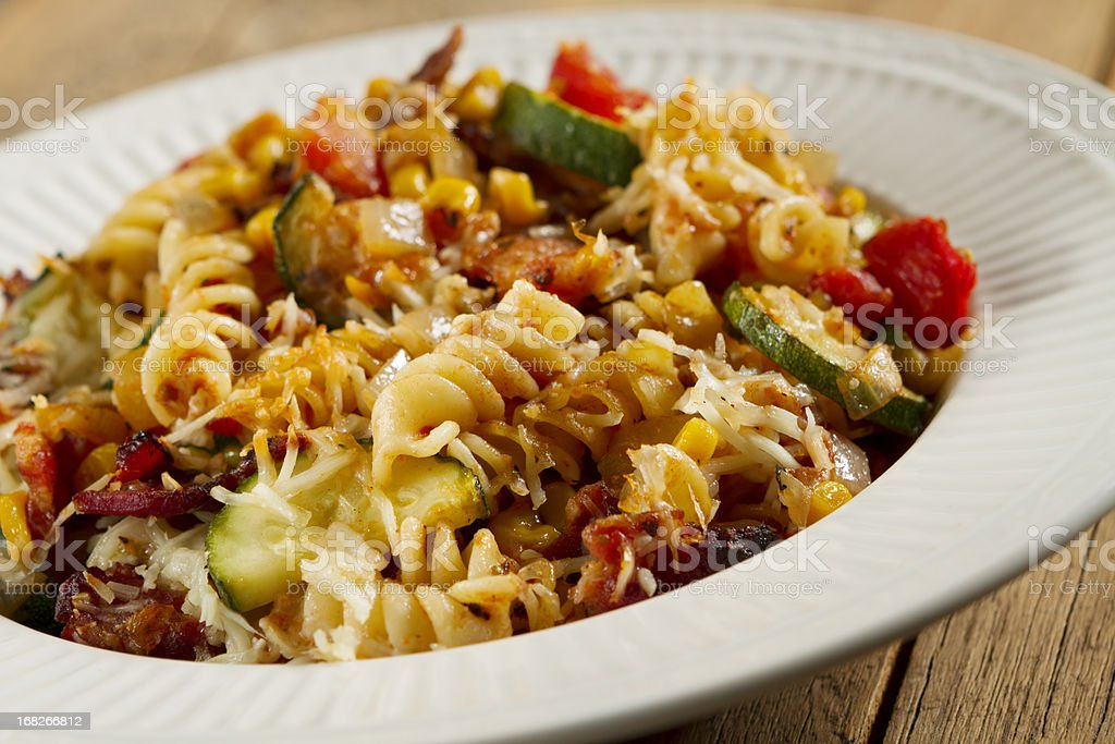 Baked Penne Pasta with Vegetables stock photo