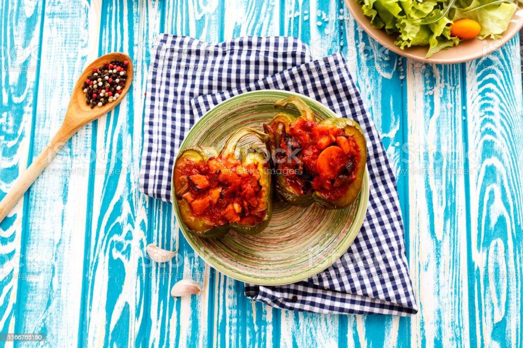 Baked pepper stuffed vegetables
