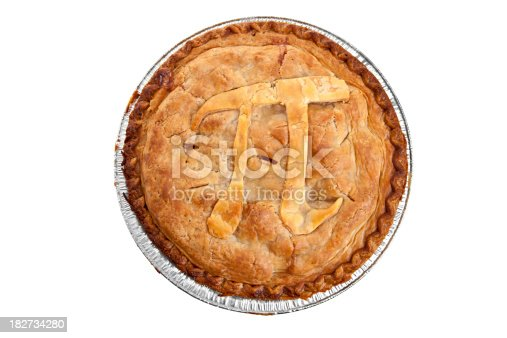 A mathematical symbol of pi on a baked pastry apple pie.
