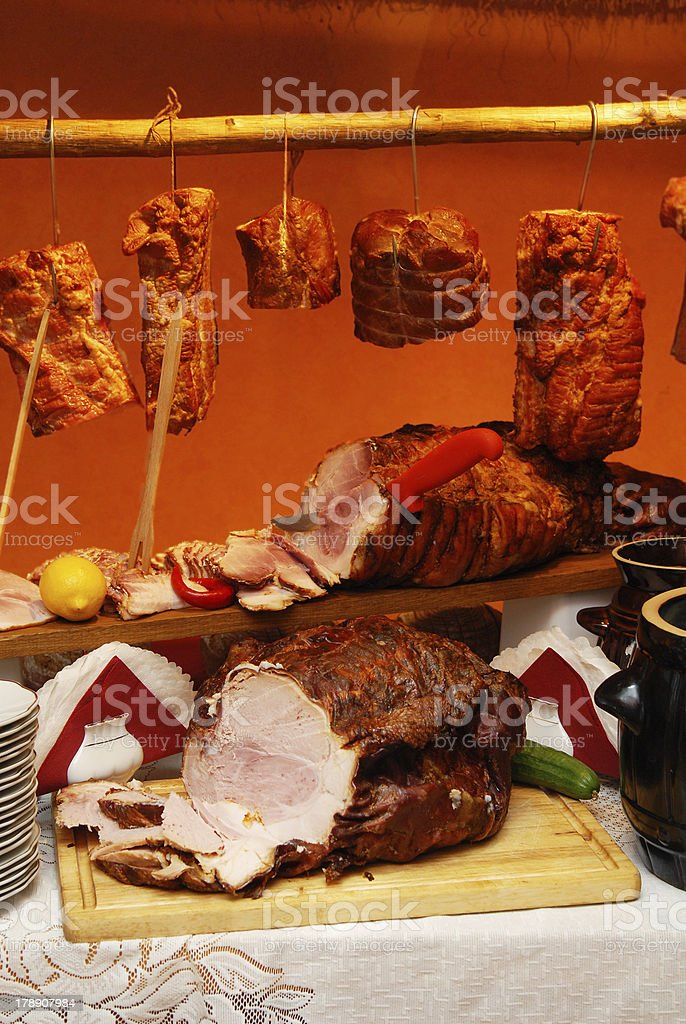 Baked pig on a wedding table royalty-free stock photo