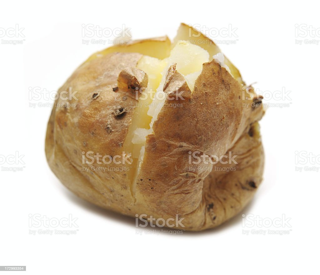 baked potato against white stock photo