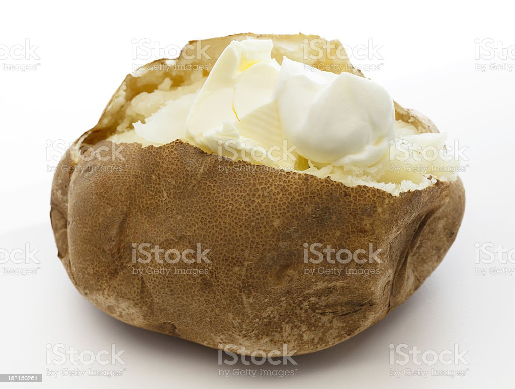 Baked Potato and Sour Cream royalty-free stock photo