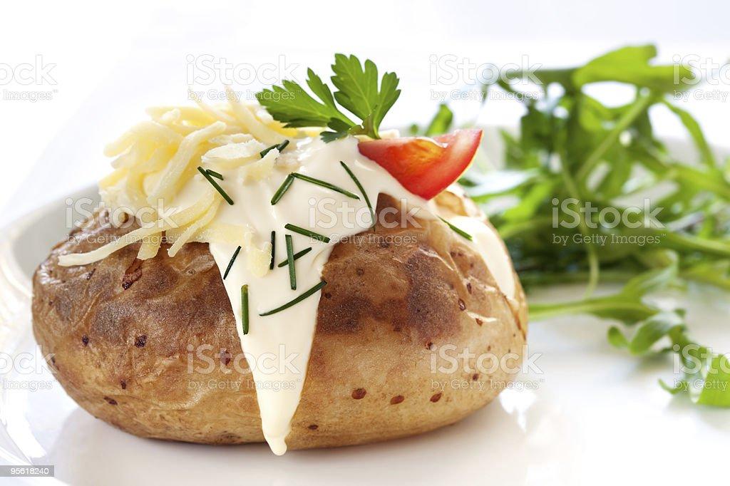 Baked Potato with Salad stock photo
