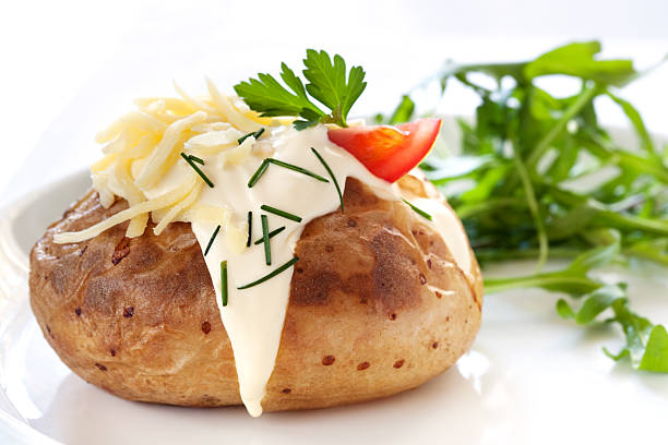 Baked Potato with Salad stock photo