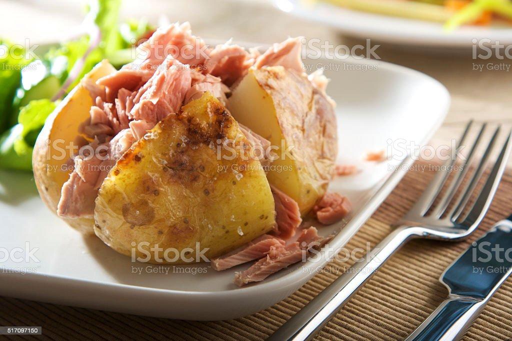 baked potato with tuna (no mayonnaise) stock photo
