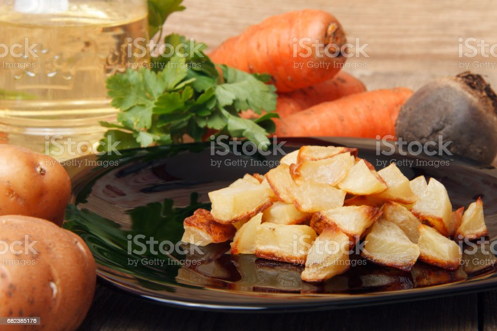 Baked potatoes for a vegetable salad. royalty-free stock photo