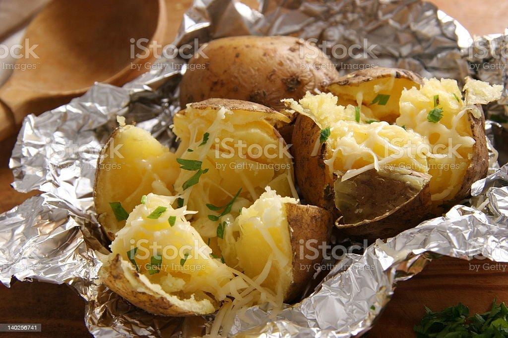 Baked potatoes. stock photo