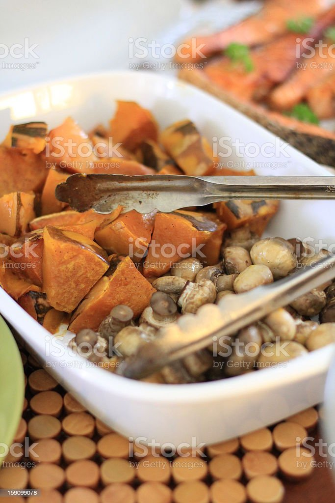 Baked Pumpkin and Button Mushrooms royalty-free stock photo