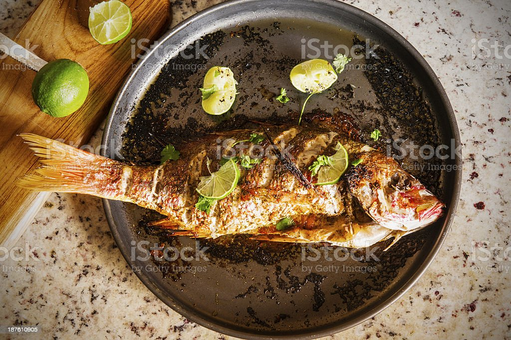 Baked Red Snapper stock photo