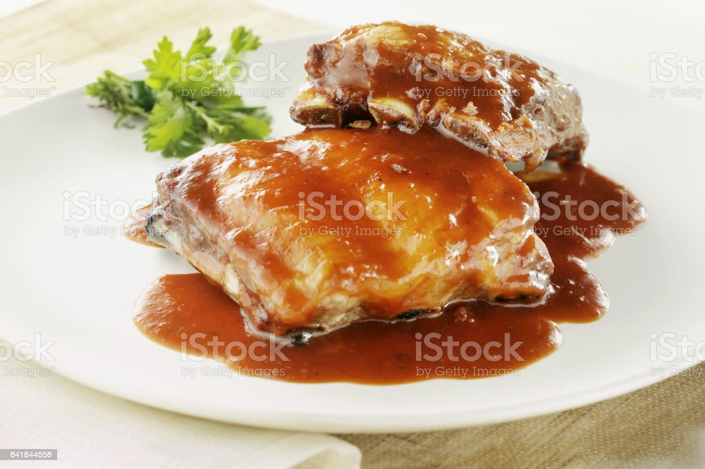 baked ribs stock photo