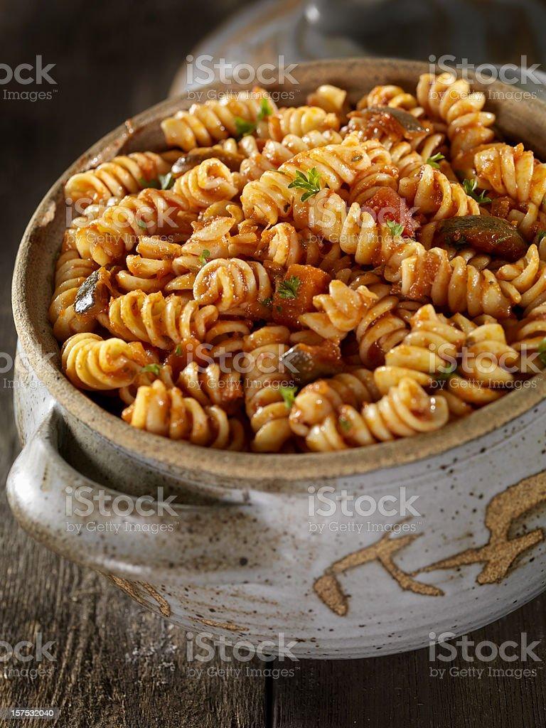 Baked Rotini Pasta in Tomato Sauce stock photo
