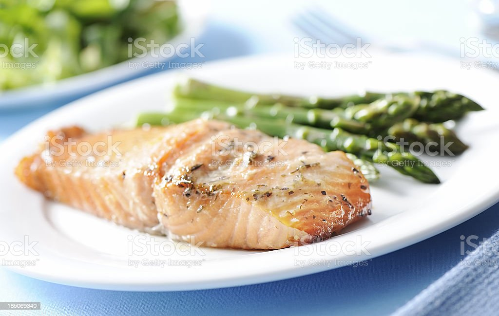 Baked salmon and asparagus stock photo