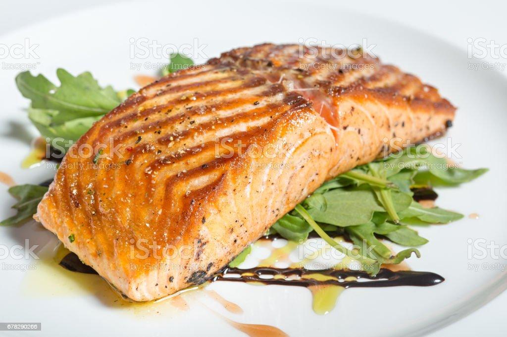 Baked salmon fillet dinner stock photo