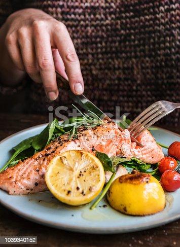 Baked salmon food photography recipe idea