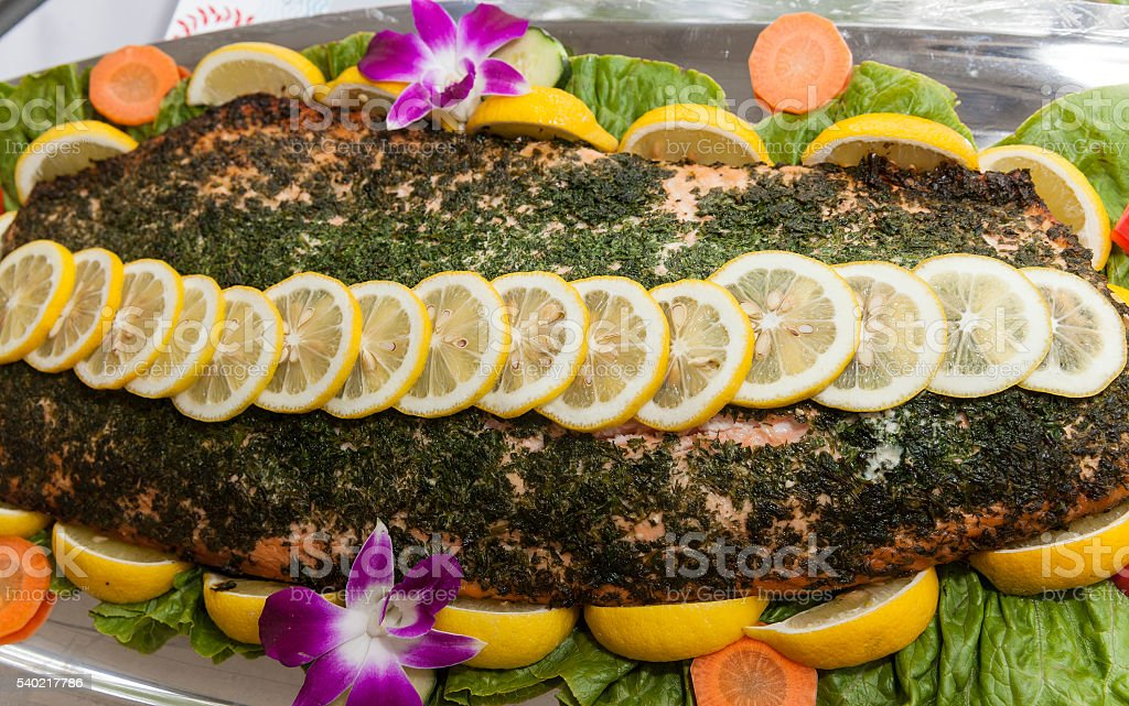 Baked salmon stock photo