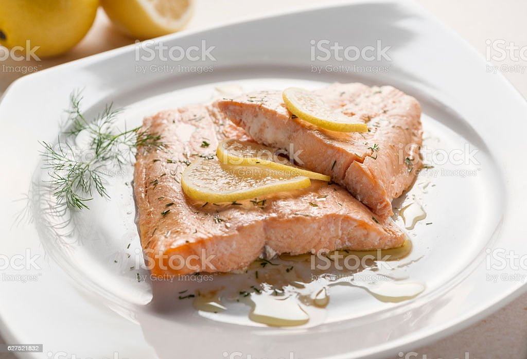 baked salmon with dill stock photo