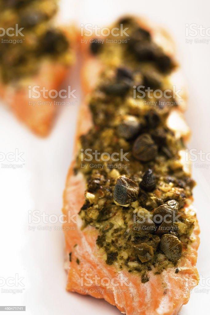 Baked salmon with pesto royalty-free stock photo