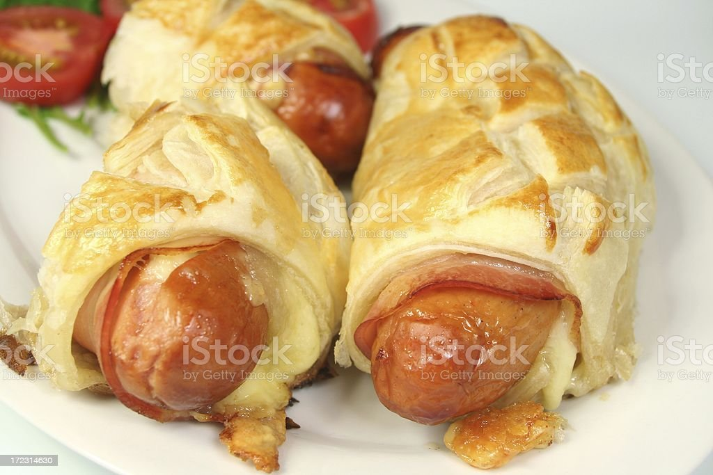 Baked Sausages stock photo