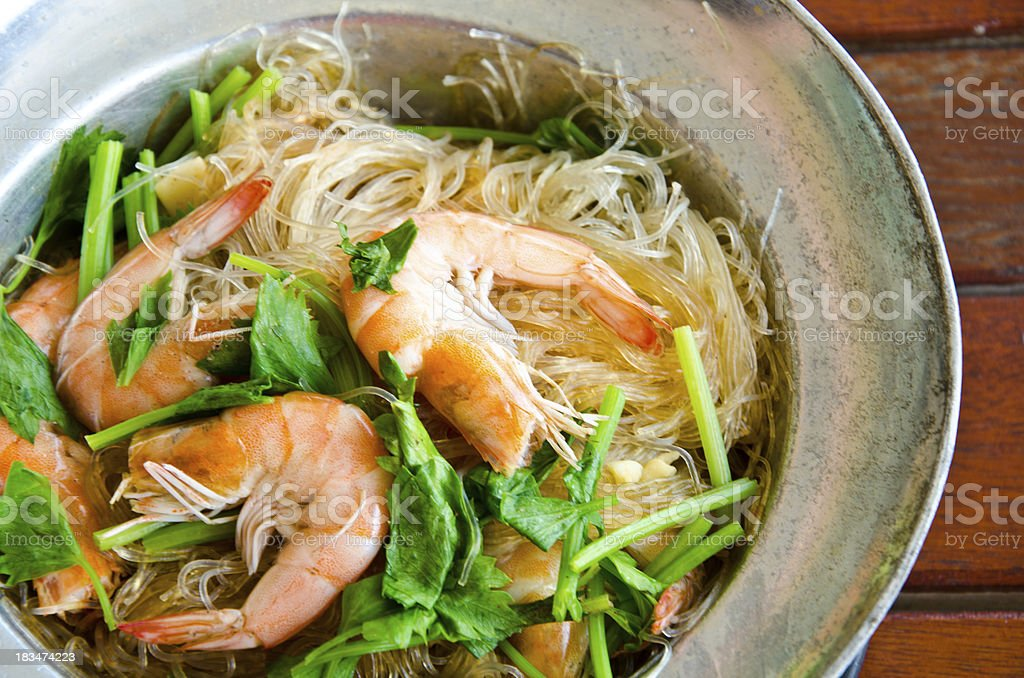 Baked shrimp vermicelli and vegetable stock photo
