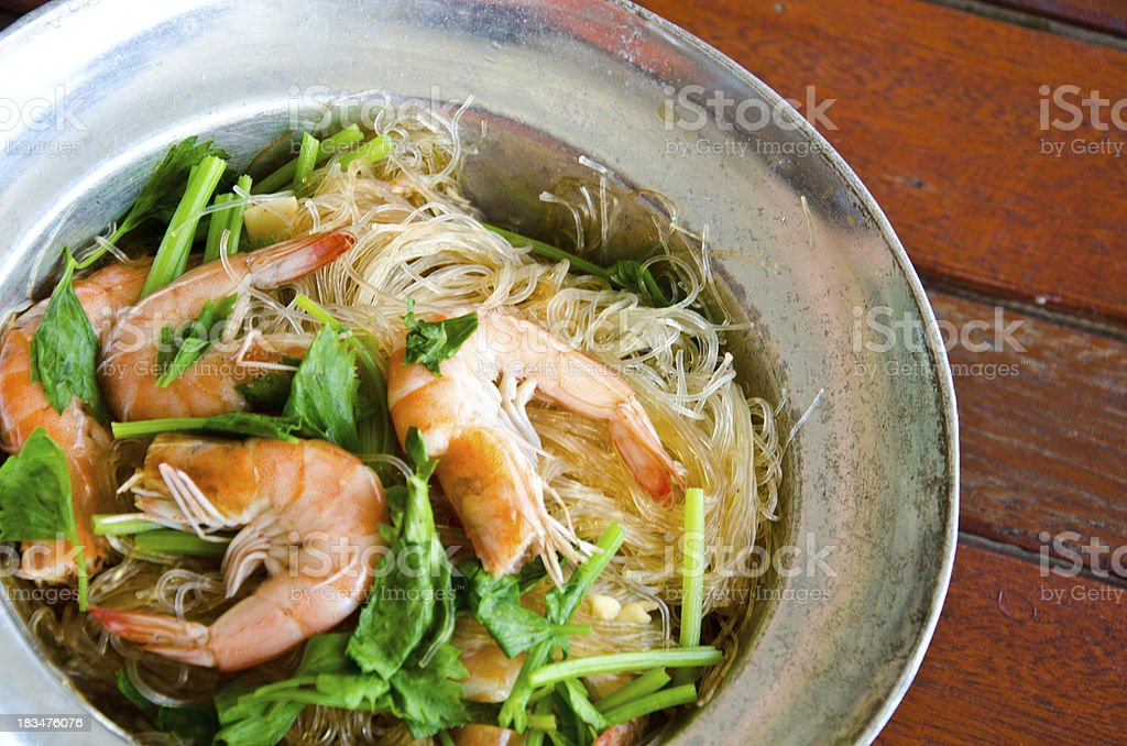Baked shrimp vermicelli for lunch stock photo