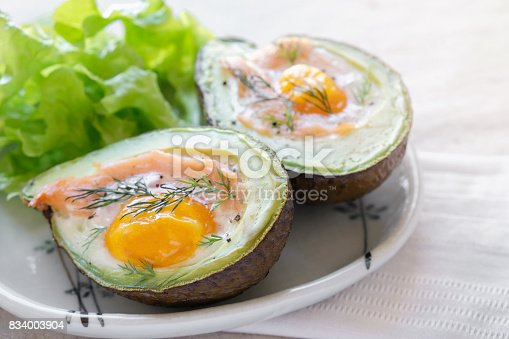 istock Baked smoked salmon, egg in avodaco, ketogenic keto low carb diet food 834003904