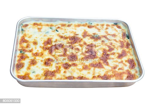 istock Baked Spinach with cheese baked in aluminum tray that have recently completed ready-to-eat. Isolated on white background. (with clipping path) 805061330
