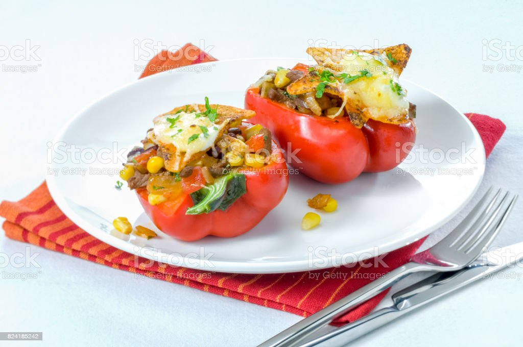 Baked stuffed paprika stock photo