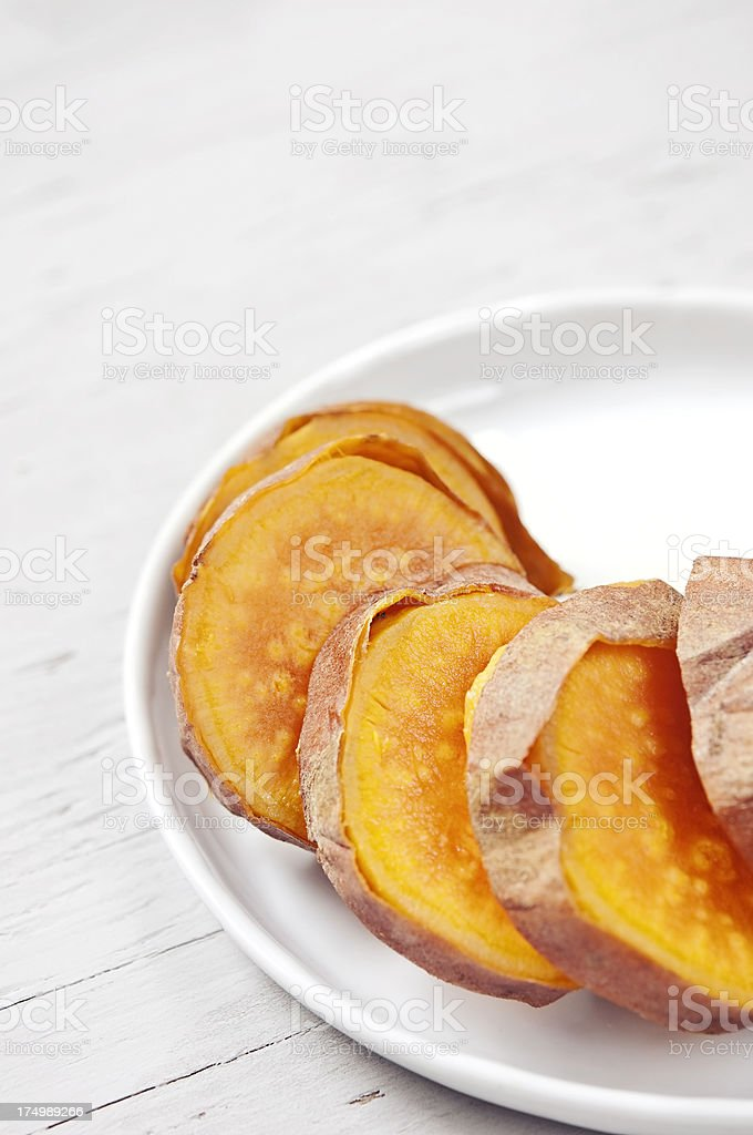 Baked sweet potato royalty-free stock photo